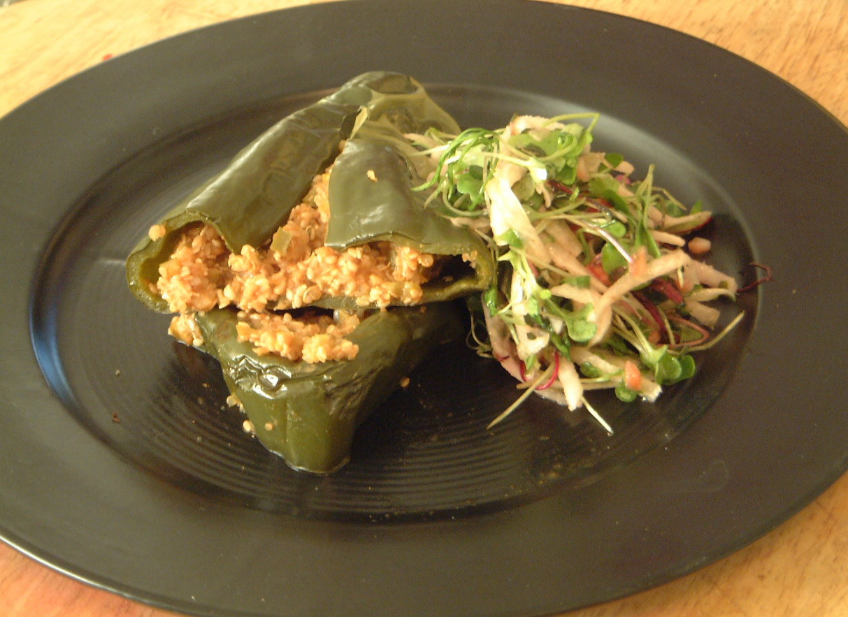 A recipe a day a recipe experiment kitchen shaman stuffed poblano pepper forumfinder Choice Image