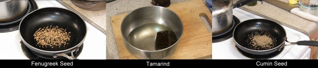 Toasting Spices, Soaking Tamarind