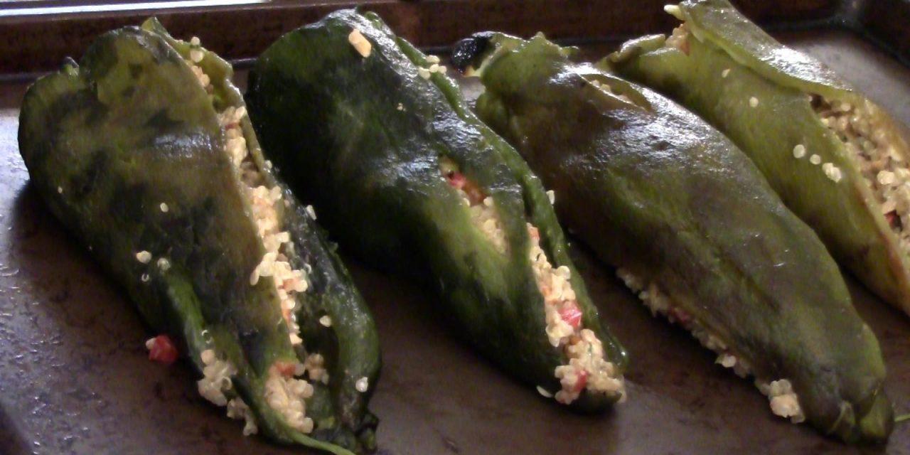 Creamy Quinoa Stuffed Poblano Chilies