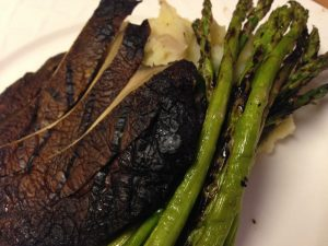 Grilled asparagus and portabello mushroom, with vegan whipped potatoes. One of my go to entrees for an elegant meal.